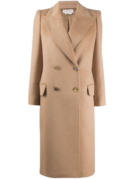С рукавами прямое шерстяное пальто на пуговицах Alexander Mcqueen