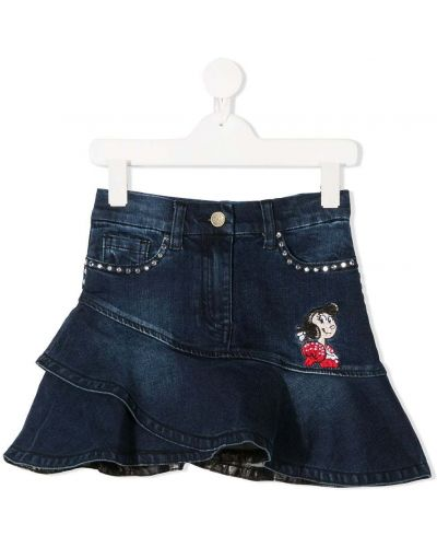 Хлопковая асимметричная синяя джинсовая юбка Monnalisa