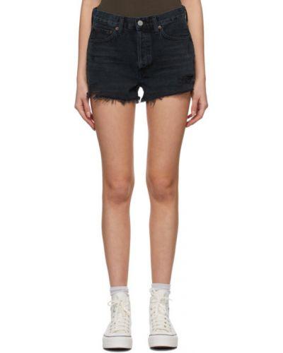 Черные джинсовые шорты с карманами с манжетами Agolde
