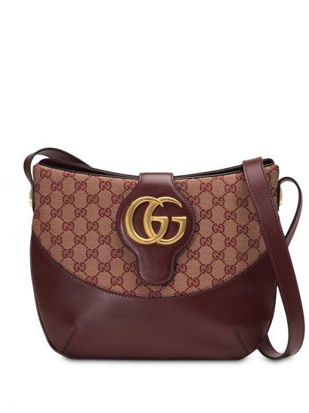 Красная парусиновая вечерняя кожаная сумка на молнии Gucci