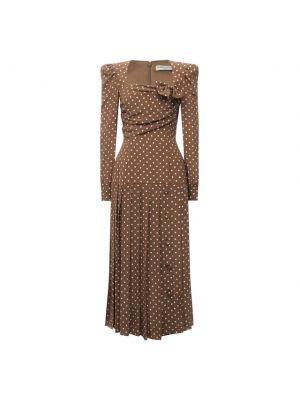 Коричневое шелковое платье с подкладкой Alessandra Rich