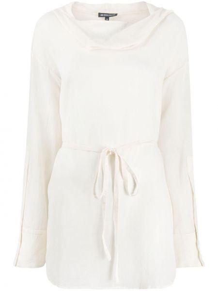 Bawełna bawełna klasyczny biały krawat Ann Demeulemeester