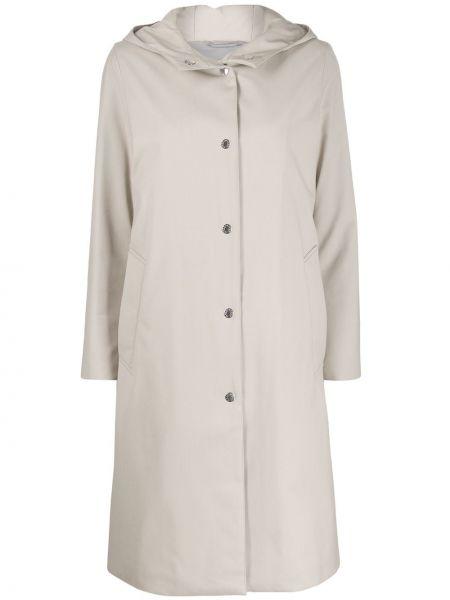 Шерстяное длинное пальто с капюшоном айвори Mackintosh