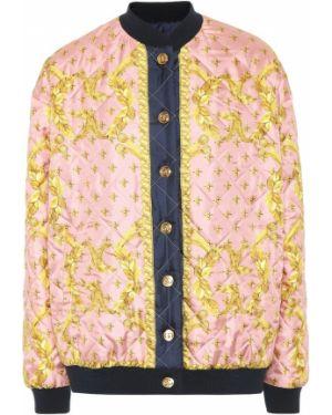 Базовая шелковая розовая стеганая куртка двусторонняя Gucci