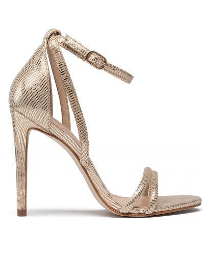 Босоножки на каблуке - золотые Eva Longoria