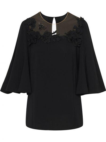 С рукавами черная шелковая блузка с аппликациями Oscar De La Renta