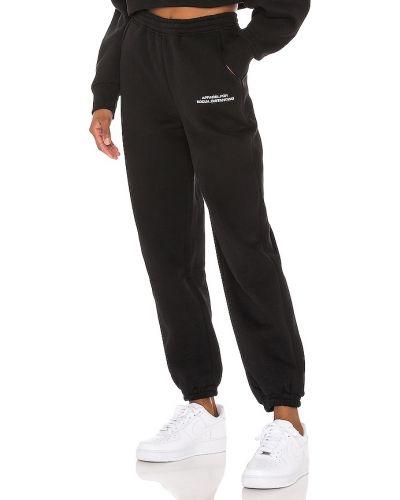 Czarne spodnie bawełniane z haftem Atoir
