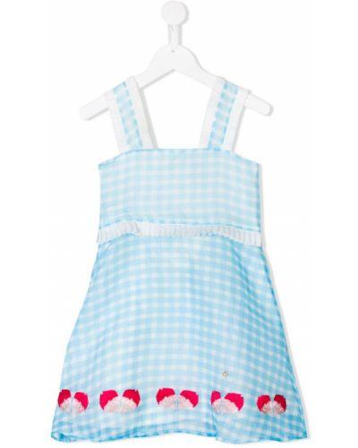 Платье с рукавами без рукавов синий Le Mu