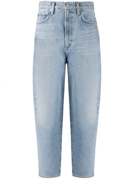 Bawełna bawełna niebieski klasyczny jeansy z kieszeniami Agolde