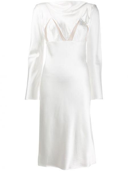 Приталенное платье миди - белое Bevza