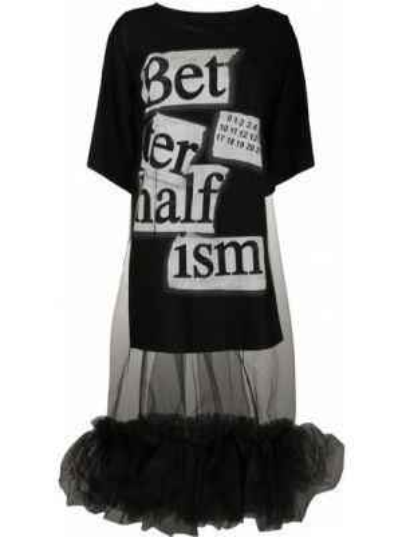 Платье мини футболка черное Mm6 Maison Margiela