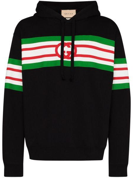 Czarny bawełna bawełna bluza w paski Gucci