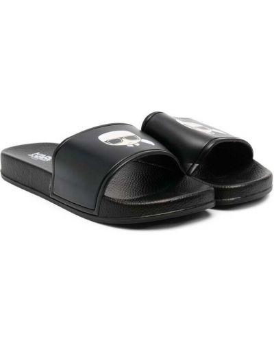 Черные открытые шлепанцы с открытым носком Karl Lagerfeld Kids