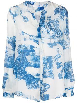 Шелковая с рукавами белая блузка Boss Hugo Boss
