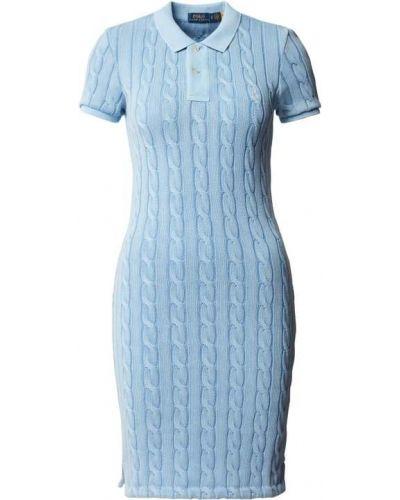 Prążkowana niebieska sukienka mini dzianinowa Polo Ralph Lauren
