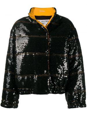 Прямое черное длинное пальто с воротником с пайетками Jean Paul Gaultier Pre-owned