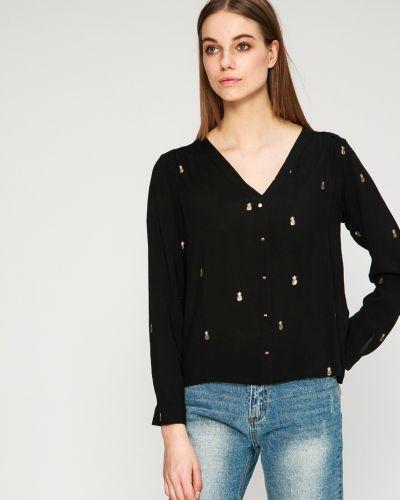 Черная блузка с V-образным вырезом Answear