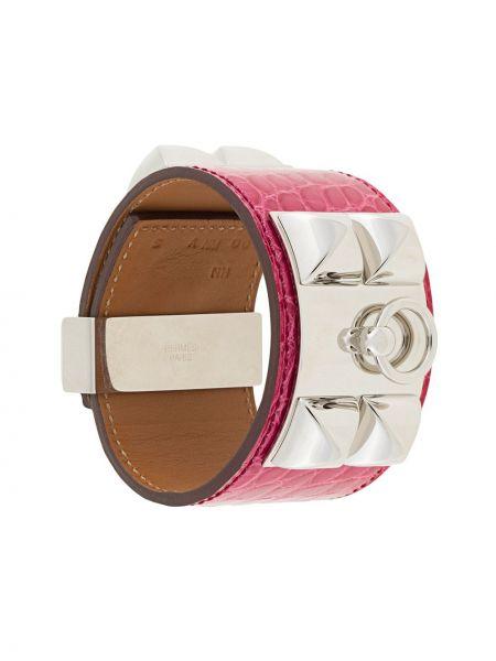 Розовый кожаный браслет винтажный с заклепками из крокодила Hermès