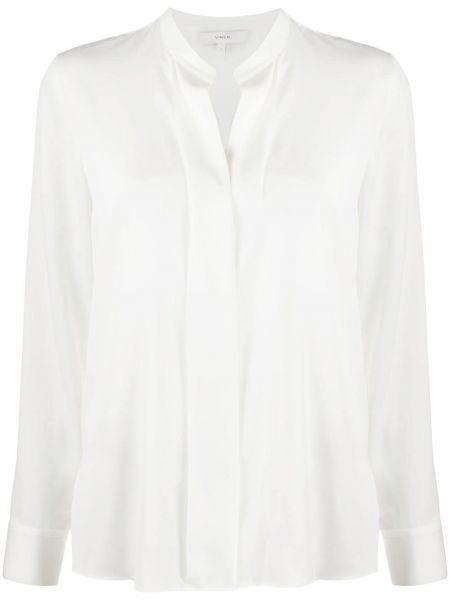 Белая шелковая прямая длинная блузка Vince.