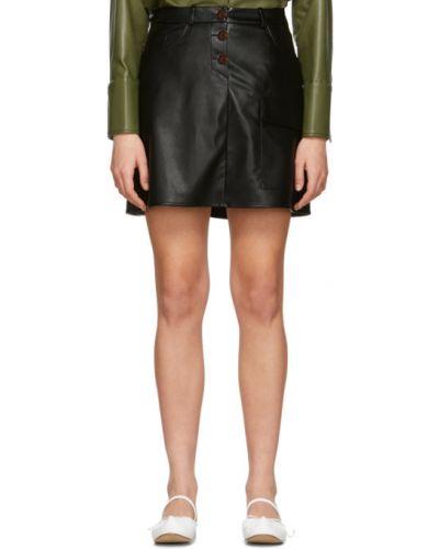 Czarny skórzany spódnica mini z kieszeniami za pełne áeron