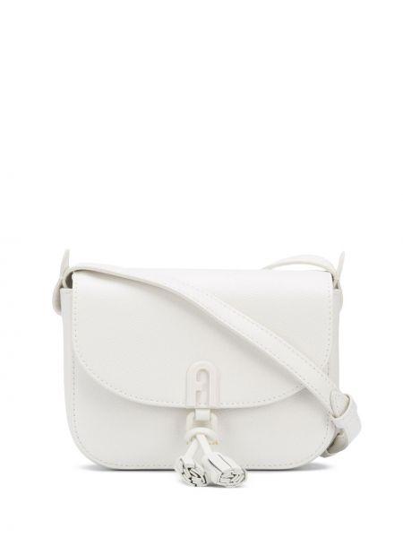 Кожаная белая сумка через плечо с карманами Furla