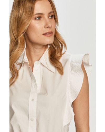 Biała bluzka z falbanami bawełniana Pinko
