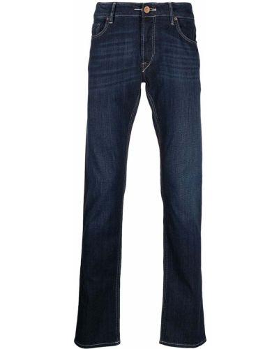 Niebieskie jeansy bawełniane z paskiem Hand Picked