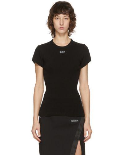 Bawełna czarny koszula z krótkim rękawem z kołnierzem krótkie rękawy Off-white