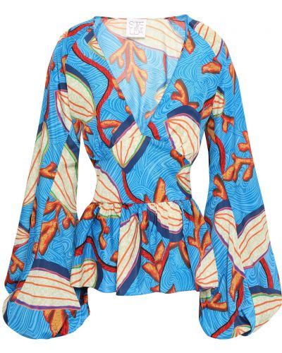Синяя блузка на пуговицах с манжетами Stella Jean