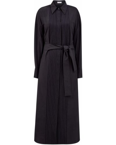 Платье на пуговицах с разрезами по бокам из поплина с манжетами Brunello Cucinelli