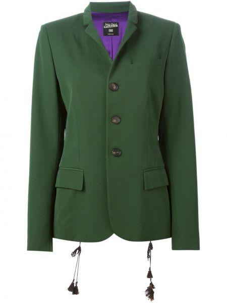 Зеленая кожаная куртка на пуговицах с лацканами узкого кроя Jean Paul Gaultier Pre-owned