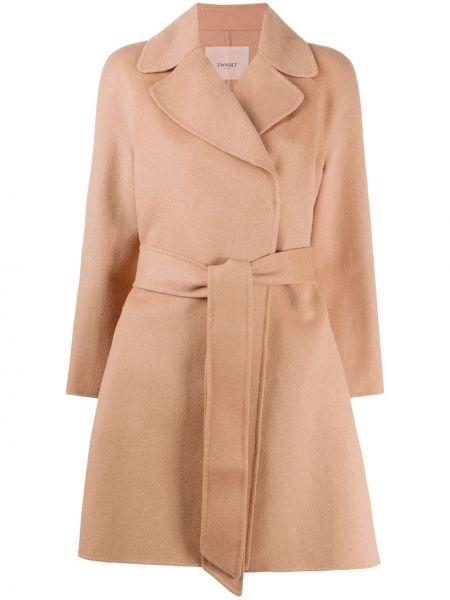 Шерстяное пальто классическое с поясом с воротником на пуговицах Twin-set
