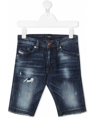 Хлопковые синие джинсы классические с карманами Diesel Kids