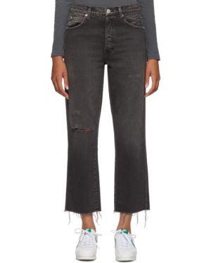 Czarny jeansy do kostek z mankietami z kieszeniami wytłoczony Amo