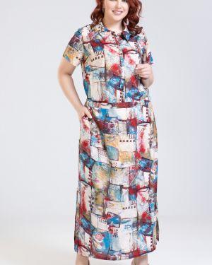 Прямое летнее платье на пуговицах из штапеля с воротником прима линия