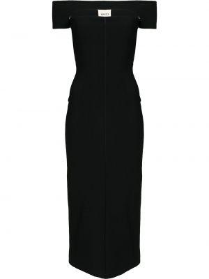 Открытое с рукавами черное платье миди Khaite