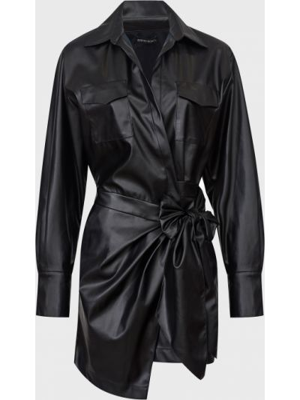 Кожаное платье - черное David Koma