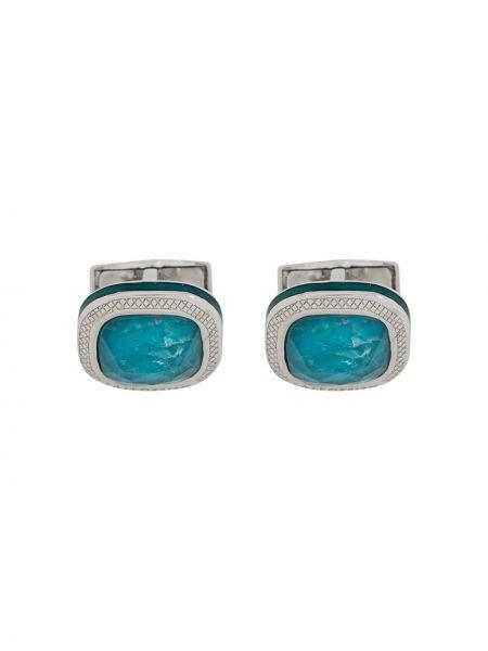 Синие запонки с камнями металлические Tateossian