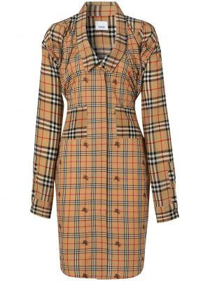 Соломенное шелковое платье винтажное с воротником Burberry