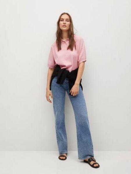 T-shirt materiałowa - różowa Mango