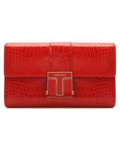 Красный кожаный клатч Tom Ford