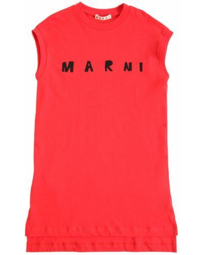 Sukienka bawełniana z printem Marni Junior