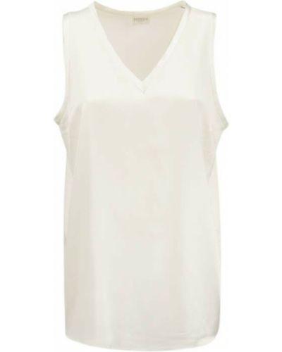 Biała satynowa koszulka Brunello Cucinelli