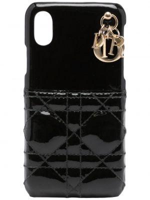 Черный золотистый кожаный футляр для очков Christian Dior