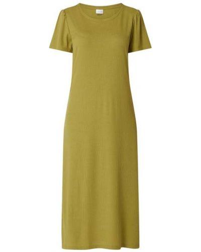 Prążkowana zielona sukienka midi rozkloszowana Vila