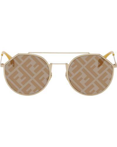 Кожаные оранжевые солнцезащитные очки круглые Fendi
