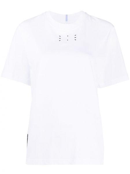 Хлопковая белая прямая футболка с круглым вырезом Mcq Alexander Mcqueen