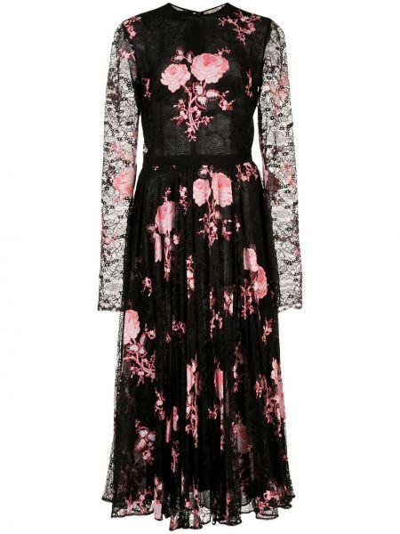 С рукавами черное платье миди с вышивкой Giambattista Valli