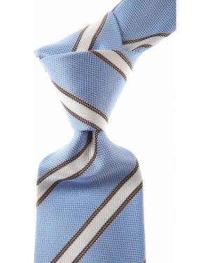 Brązowy krawat w paski z jedwabiu Belvest