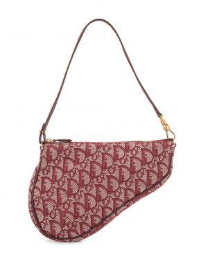 Кожаная красная маленькая сумка винтажная Christian Dior